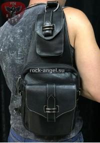 """Кожаная сумка на плечо """"Петля"""" черная"""