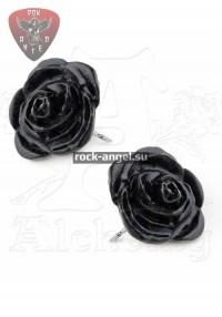 Черные Розы серьги-гвоздики