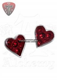 Кровавое сердце серьги-гвоздики